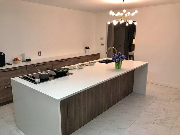 Mod kitchen island & waterfall edge. Photo 4 of Gayfields modern home