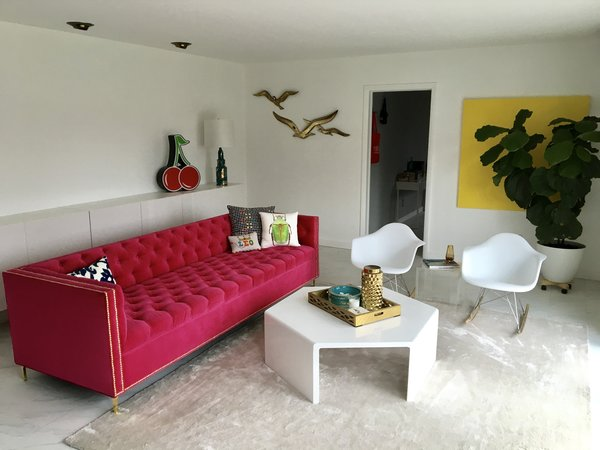 Our @modshop1 sofa, vintage birds, Adler lamps complete the upstairs living room. Photo 7 of Gayfields modern home