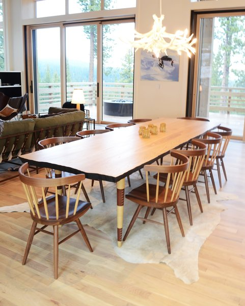 Dining Area with Custom Dining Table by Rob Zinn for blankblank & Nakashima Chairs by Knoll, Martis Camp Residence by Jill Dudensing Lifestyle + Design Photo 7 of Martis Camp Family Home by Jill Dudensing Lifestyle + Design modern home