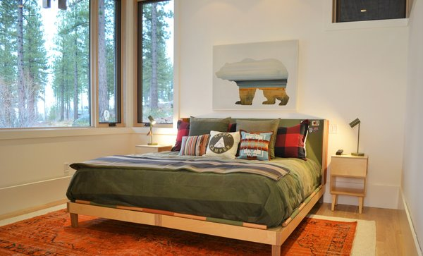 Guest Bedroom with Custom Furniture by blankblank & Art by Micah Crandall-Bear, Martis Camp Residence by Jill Dudensing Lifestyle + Design Photo 18 of Martis Camp Family Home by Jill Dudensing Lifestyle + Design modern home