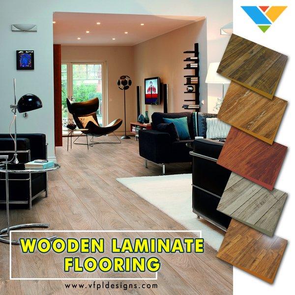 Modern home with living room and medium hardwood floor. Photo  of Laminate Wood Flooring
