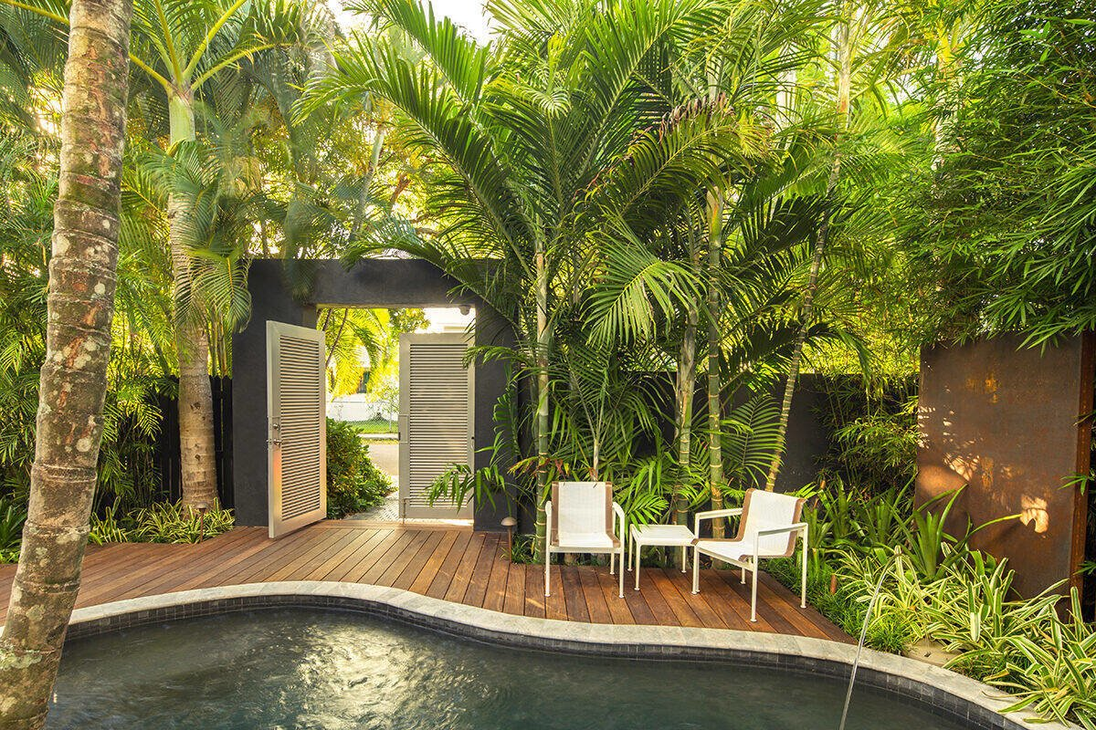 Clean lines and mass groupings of plants help create a sense of openness and space within a small garden. Tagged: Outdoor, Garden, Walkways, Side Yard, Gardens, Small, Hardscapes, Trees, Plunge, Standard Construction, Wood, Decking, Landscape, and Metal.  Best Outdoor Decking Landscape Photos from Von Phister