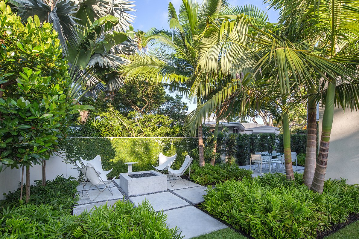 The clients had very specific priorities with their dream tropical garden and a fire pit was high on the list of priorities.