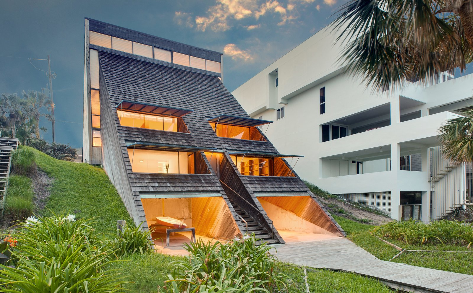 Tagged: Outdoor and Back Yard.  Photo 1 of 13 in A Renowned Florida Architect's Geometric Family Home Hits the Market For the First Time