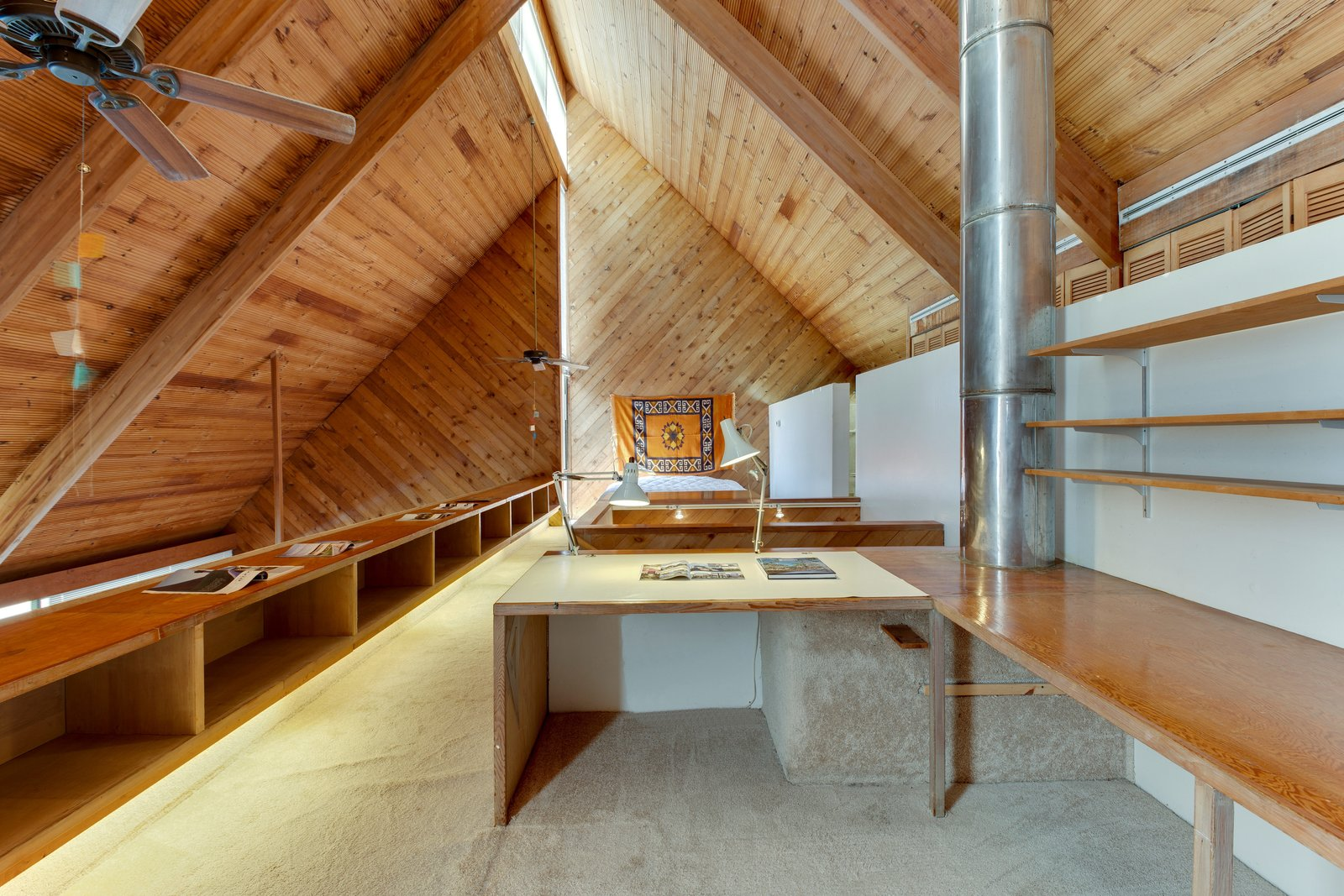 Tagged: Office, Study, Lamps, Desk, and Storage.  Photo 10 of 13 in A Renowned Florida Architect's Geometric Family Home Hits the Market For the First Time
