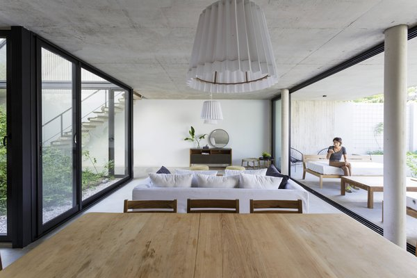The ground level with open living spaces.