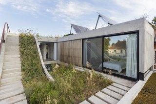 A Gardener's Home in Argentina Boasts Flowing Green Spaces - Photo 10 of 13 - The first floor bedroom overlooks rooftop gardens.
