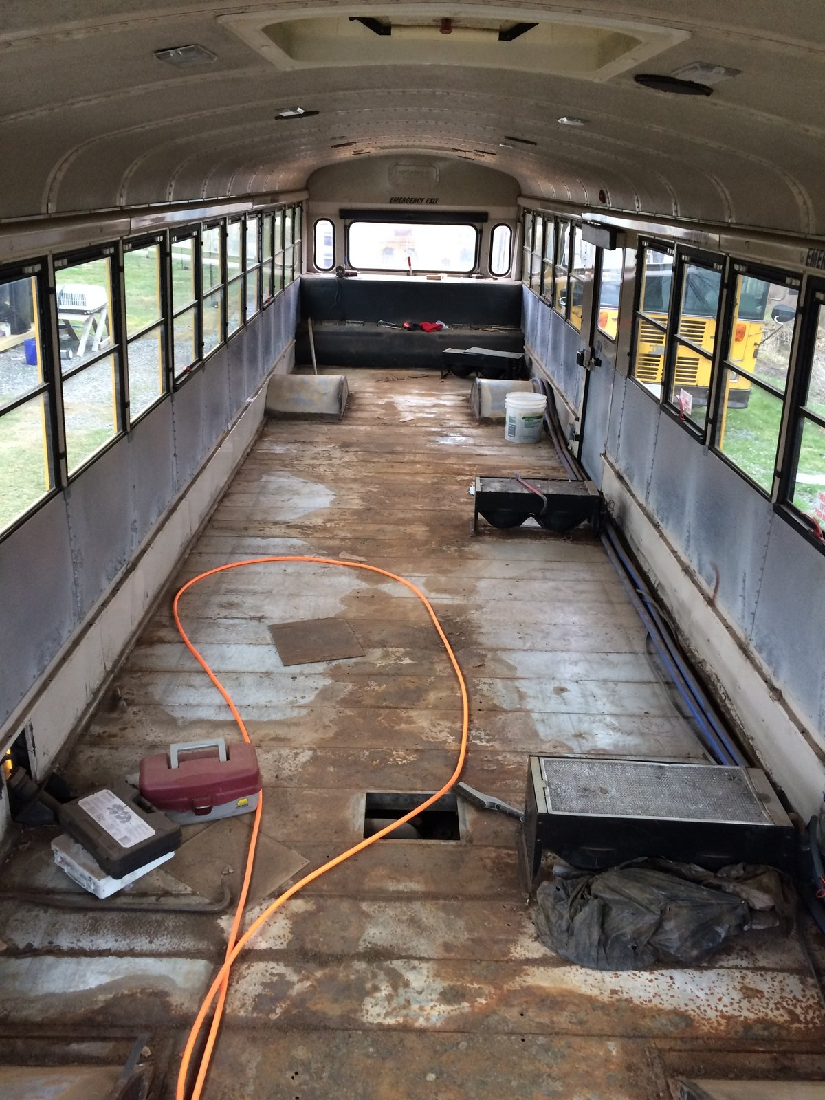 Looking towards the back of the bus, with the seats removed.