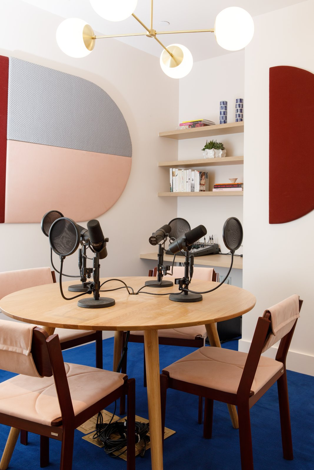 The podcast room includes the Alto Compass chandelier from Cedar & Moss. Tagged: Office, Desk, Chair, Carpet, and Craft Room.  Best Office Photos from A Peek Inside Brooklyn's Latest Co-Working Space Dedicated to Women