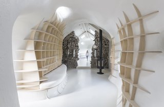 """This Renovated Scottish Farmhouse With Sinuous Interior Walls Is a Jaw-Dropper - Photo 5 of 8 - The design team writes, """"As a wooden grid structure, the furniture pieces pull the structural grid through the surface of the GRP walls and seem to be peeling off the tube."""""""