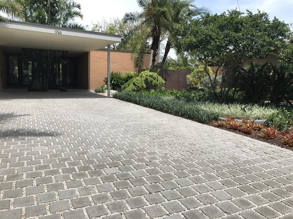 Modern home with outdoor, front yard, trees, flowers, hardscapes, gardens, shrubs, walkways, and horizontal fence. Burle Marx signature plants include the fernlike Brazilian tower tree, turquoise blooming jade vine, Philodendron Burle Marx used as a groundcover, and specimen bromeliads such as Dyckia Burle Marx. Brightly colored foliage is used in large contrasting blocks. Photo  of Mid-Century Modern Bungalow