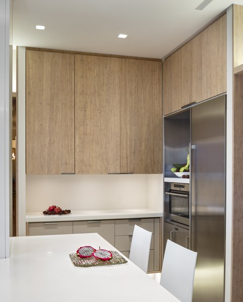 Modern home with engineered quartz counter, vinyl floor, wood cabinet, white cabinet, laminate cabinet, metal cabinet, ceiling lighting, dishwasher, undermount sink, refrigerator, wine cooler, and kitchen. Kitchen: Corner View Photo 4 of State-of-the-Art Central Park Kitchen, NY