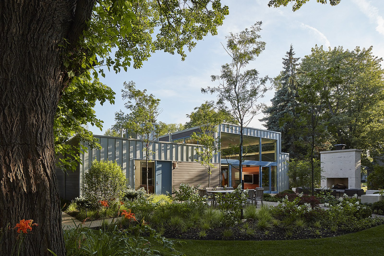 north elevation Tagged: Back Yard, Grass, Large Patio, Porch, Deck, Exterior, House, and Metal Siding Material.  Courtyard Residence by Kuklinski + Rappe Architects