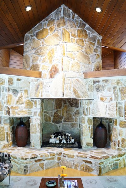 Living Room Fireplace Photo 6 of Bailey/Friedlander House-Robert Greene Designed modern home