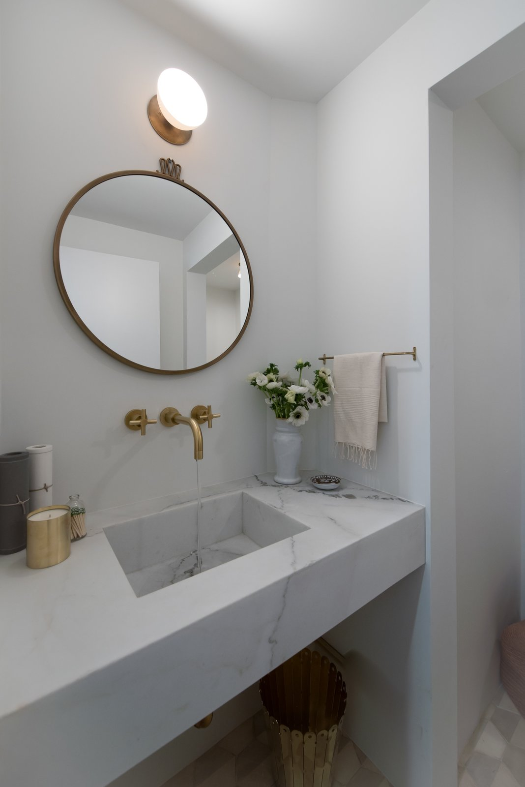 Tagged: Marble Counter, Stone Slab Backsplashe, Stone Counter, White Cabinet, Wood Cabinet, Front Yard, One Piece Toilet, Recessed Lighting, Light Hardwood Floor, Wood Burning Fireplace, Coffee Tables, and Bath Room.  The Oaks on Whitman by Landmark Building Inc.