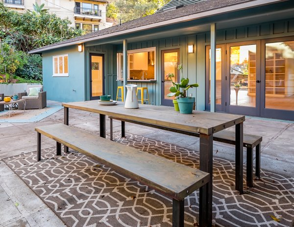 Modern home with hardscapes, horizontal fence, outdoor, back yard, and large patio, porch, deck. Photo 5 of The Oaks on Spring Oak