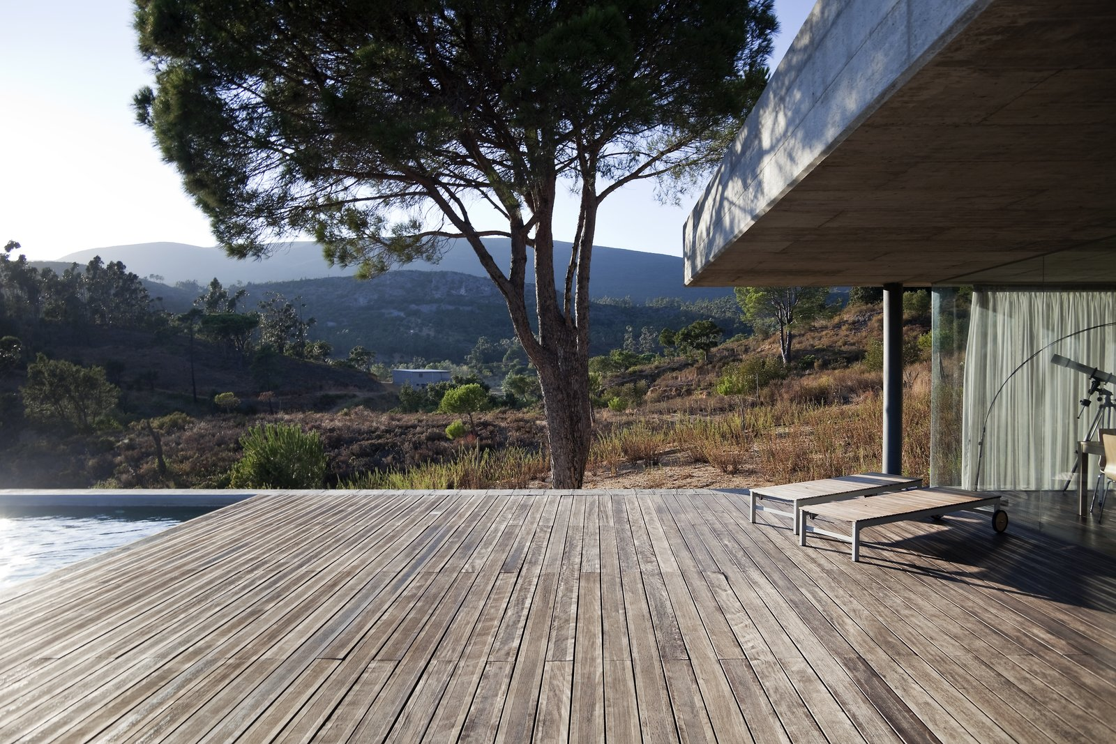 Tagged: Outdoor, Wood Patio, Porch, Deck, Trees, Large Pools, Tubs, Shower, Back Yard, and Large Patio, Porch, Deck.  House in Pedrogão by Phyd Arquitecura