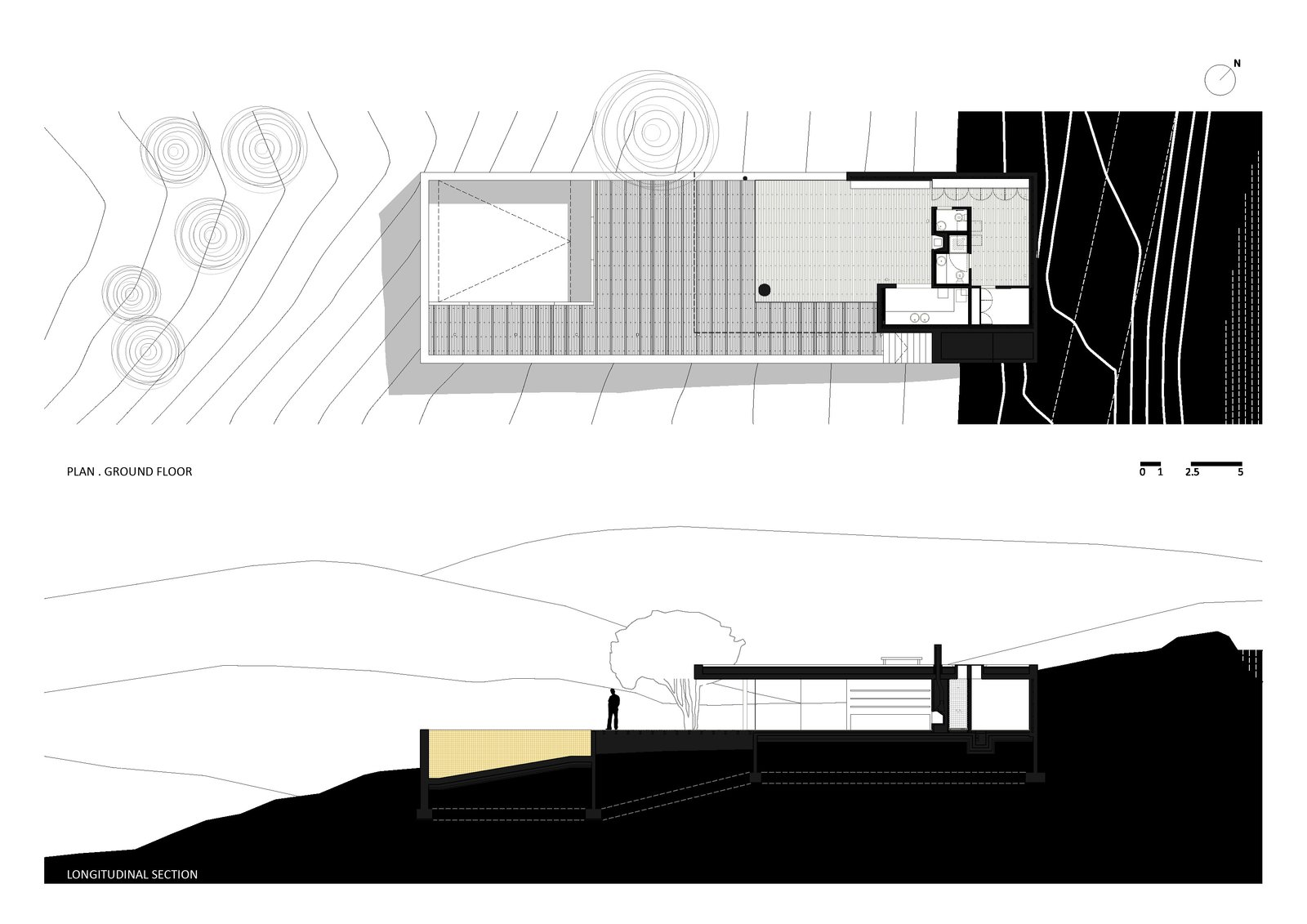 Plan Ground Floor and Longitudinal Section  House in Pedrogão by Phyd Arquitecura