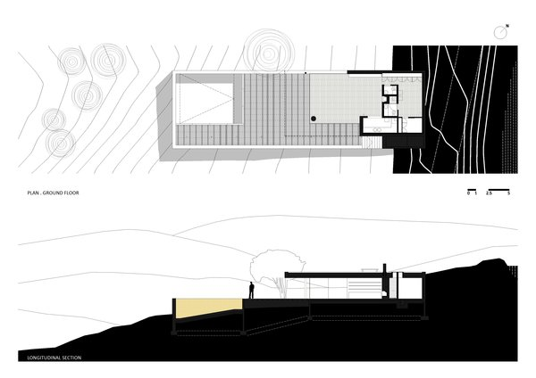 Plan Ground Floor and Longitudinal Section Photo 10 of House in Pedrogão modern home