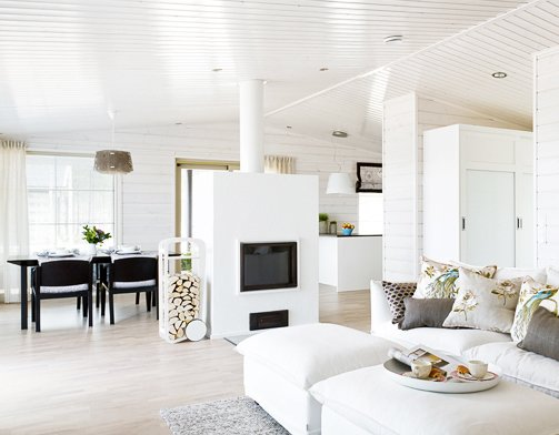Modern home with dining room, storage, wood burning fireplace, light hardwood floor, and ceiling lighting. fleimio trolley besides a new fireplace. Photo  of Second Home Mäntyharju