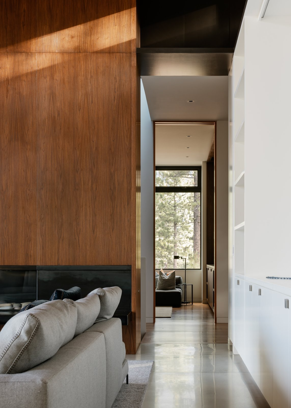 Living Room Hallway Tagged: Hallway and Concrete Floor.  Martis Camp Residence 1 by John Maniscalco Architecture