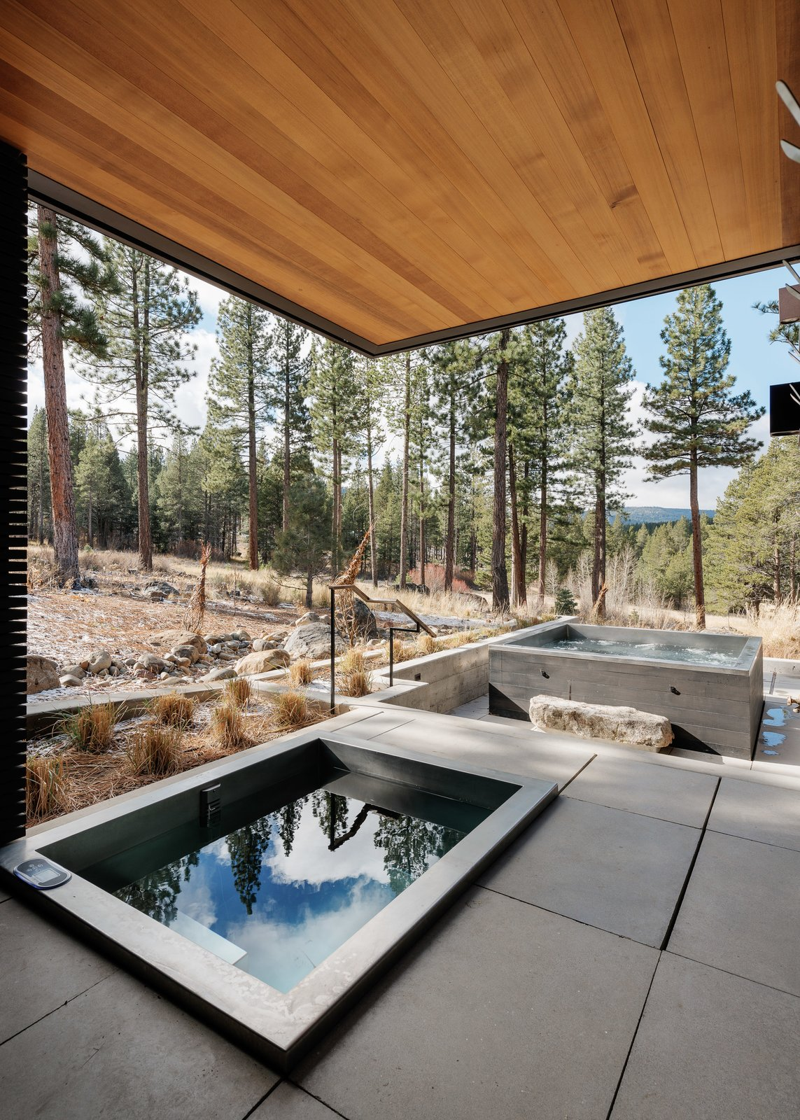 Outdoor Spa Tagged: Outdoor, Back Yard, Gardens, Flowers, Raised Planters, Boulders, Large Patio, Porch, Deck, Small Pool, and Concrete Patio, Porch, Deck. Martis Camp Residence 1 by John Maniscalco Architecture