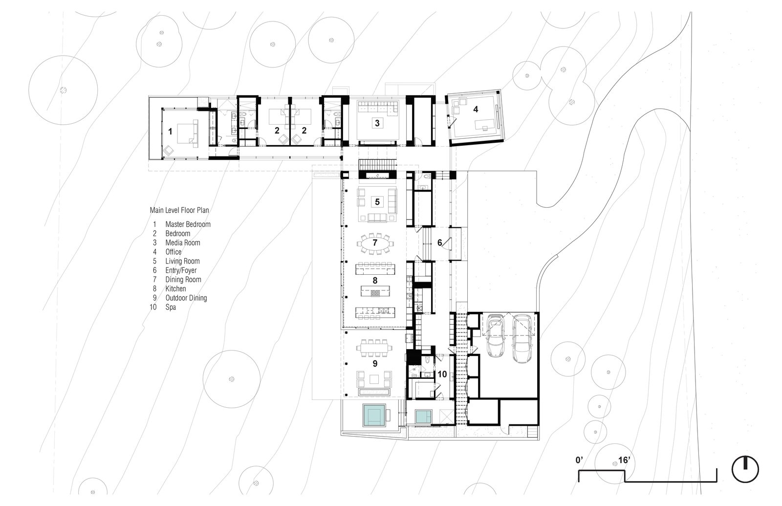 Main Level Floor Plan  Martis Camp Residence 1 by John Maniscalco Architecture