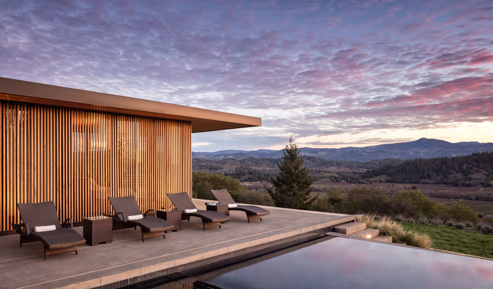 Tagged: Outdoor, Slope, Back Yard, Field, Trees, Grass, Flowers, Shrubs, Concrete Patio, Porch, Deck, Swimming Pools, Tubs, Shower, and Infinity Pools, Tubs, Shower.  Dry Creek by John Maniscalco Architecture