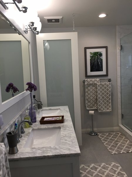 Modern home with enclosed shower and bath room. Photo 3 of Capistrano Beach Master Bathroom Remodel