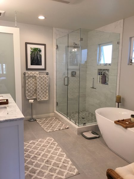 Modern home with enclosed shower, engineered quartz counter, undermount sink, porcelain tile floor, bath room, recessed lighting, and freestanding tub. Photo 4 of Capistrano Beach Master Bathroom Remodel