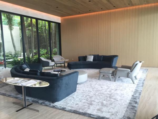 Modern home with living room. Seymour Sofa, Katlin Console, Aston Lounge Chair Photo 4 of Bal Bay