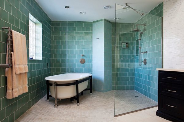 Modern home with bath room, ceramic tile floor, open shower, freestanding tub, ceiling lighting, and porcelain tile wall. Photo 2 of NJ Mansion by Joe Parisi