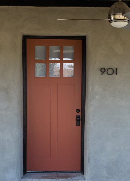 Modern home with doors, exterior, and wood. front door in Picture Gallery Red, by Farrow & Ball Photo 8 of PILGRIM HOUSE