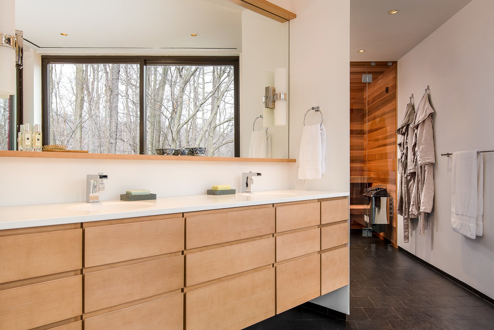 Master bath Tagged: Bath Room, Quartzite Counter, Slate Floor, and Ceiling Lighting.  House in the Woods by Kim Smith