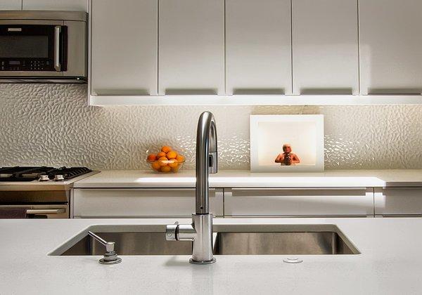 Kitchen, architectural backsplash Photo 11 of Modern Building Approved in Jackson Ward-Historic district modern home