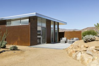 This Modern Homestead With a Vintage Trailer Offers Adventure in California's High Desert - Photo 2 of 10 - The casita houses a king-size bed, a bathroom, and an outdoor shower.