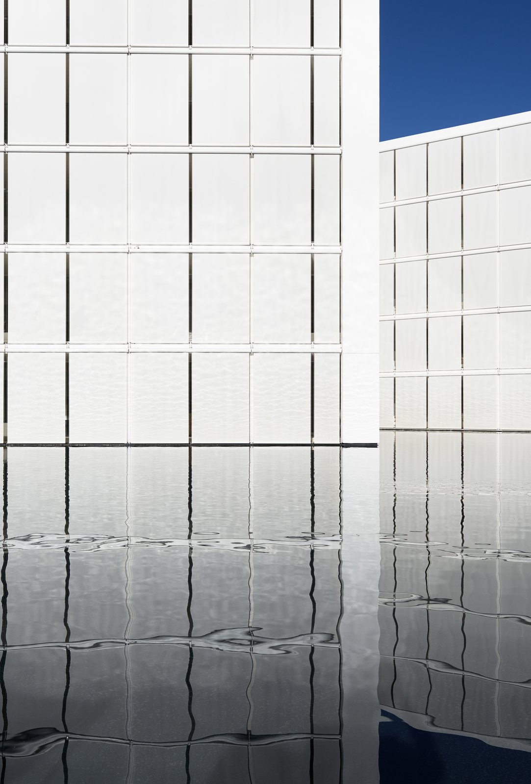 The white concrete panels appear to float on the reflecting pool. Tagged: Outdoor and Large Pool. An Exquisite Beach Resort on Baja California Sur Lies Where the Water Meets the Horizon - Photo 7 of 12