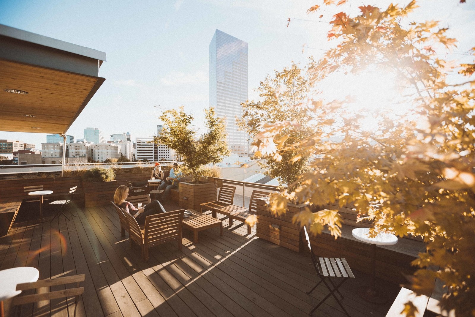 The rooftop terrace provides panoramic views to the surrounding neighborhood and city beyond.