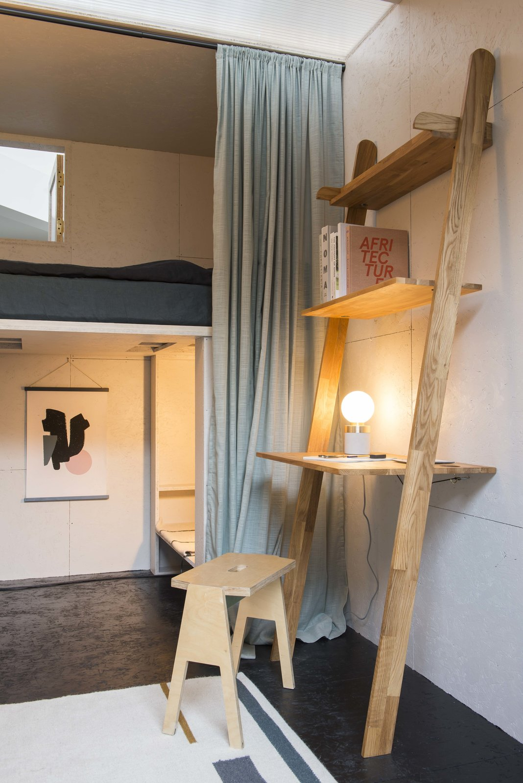 Tagged: Bed, Shelves, Storage, Bunks, Bench, Bookcase, Lamps, Accent Lighting, Shed & Studio, and Living Space.  Photo 8 of 9 in A New Concept For Modular, Affordable Housing Is Coming to London's Vacant Buildings