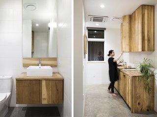 A Modern Micro-House in Portland Clad in Local Fir - Photo 4 of 8 - White oak cabinetry was custom built and fabricated by FWD. Polished concrete floors and white tile complement the warm wood tones.