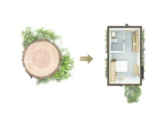 A Modern Micro-House in Portland Clad in Local Fir - Photo 1 of 8 - A diagram portrays the connection between the natural elements and the built form.