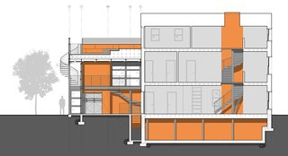 A Steel-and-Glass Addition With a Giant Hangar Door Maximizes Indoor/Outdoor Living - Photo 4 of 9 - A diagrammatic building section displays, in orange, the spaces that have been modified, including the two-story modern addition, the crawlspace of the existing home, and a light-filled atrium that spills daylight into the historic home.