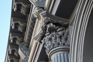 A Hidden Penthouse Sits Atop a Historic Cast-Iron Building in New York - Photo 4 of 16 - A detail of a new column capital reveals how historic proportions were replicated through new technology.