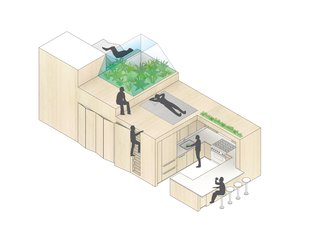 "A Hidden Penthouse Sits Atop a Historic Cast-Iron Building in New York - Photo 5 of 16 - An isometric drawing demonstrates the ""bonsai"" space, complete with seating and an herb garden, perched above the built-in storage and kitchen."