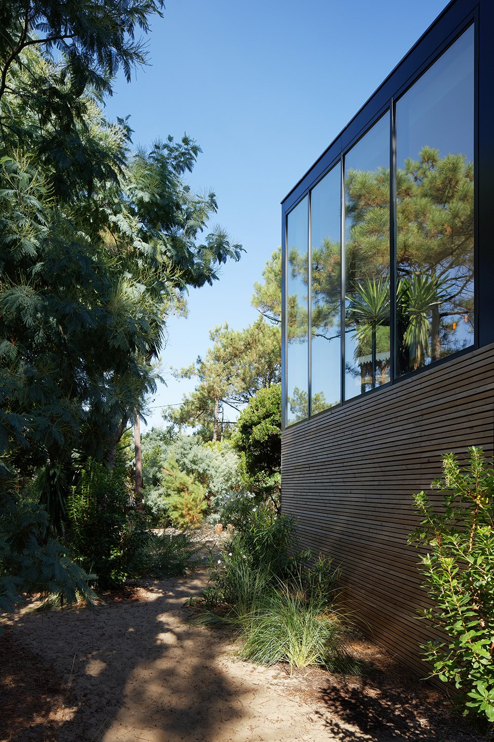 Minimal materials allow the dwelling to blend kindly into the surroundings, while large amounts of glazing increase the connection between built form and nature.