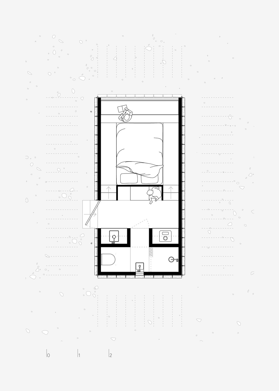 The Floor Plan of the cabin shows the innovative and efficient use of space in the compact floor plate.