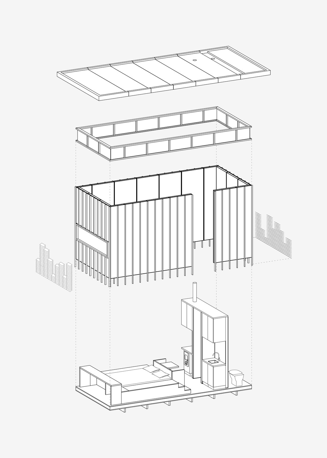This axonometric drawing simply explains the building components which create the cabin from the wood