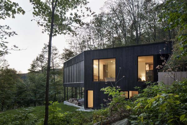 This Wood-Clad Home Is Built Into a Serene Mountain Slope - Photo 2 of 16 - Large openings provide visual connections from all areas of the home, extending the livable space out into nature.