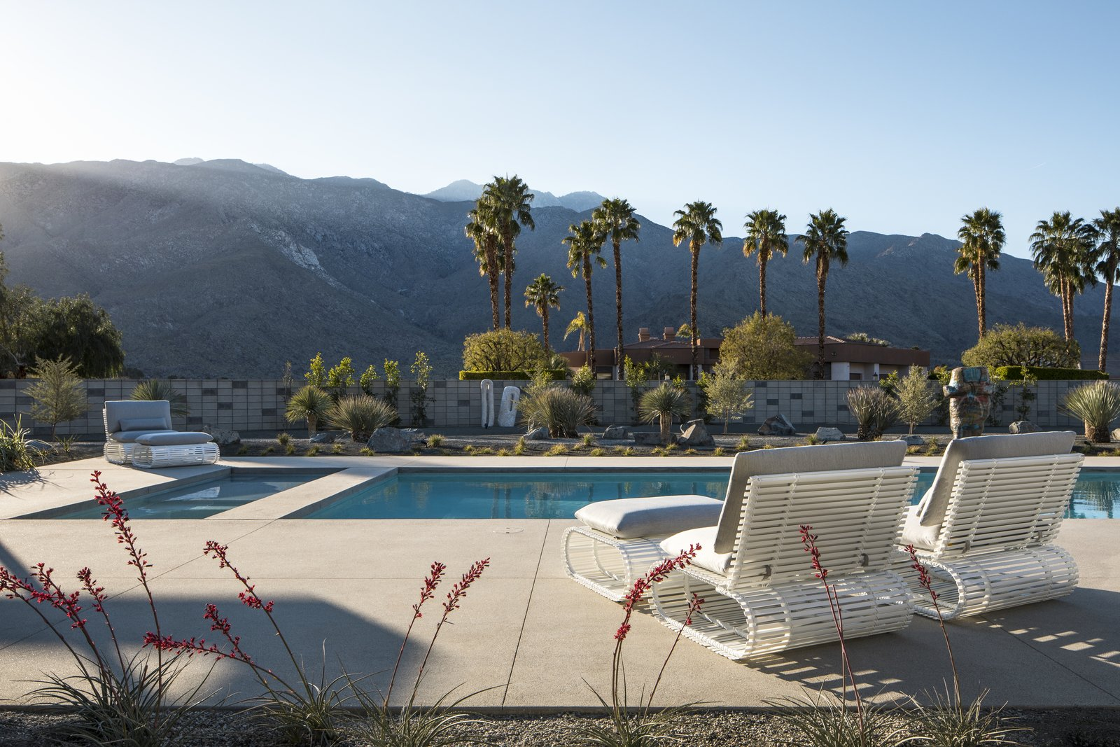 Astounding views of palm trees and the surrounding Palm Springs landscape are provided from 360 degree exterior views.