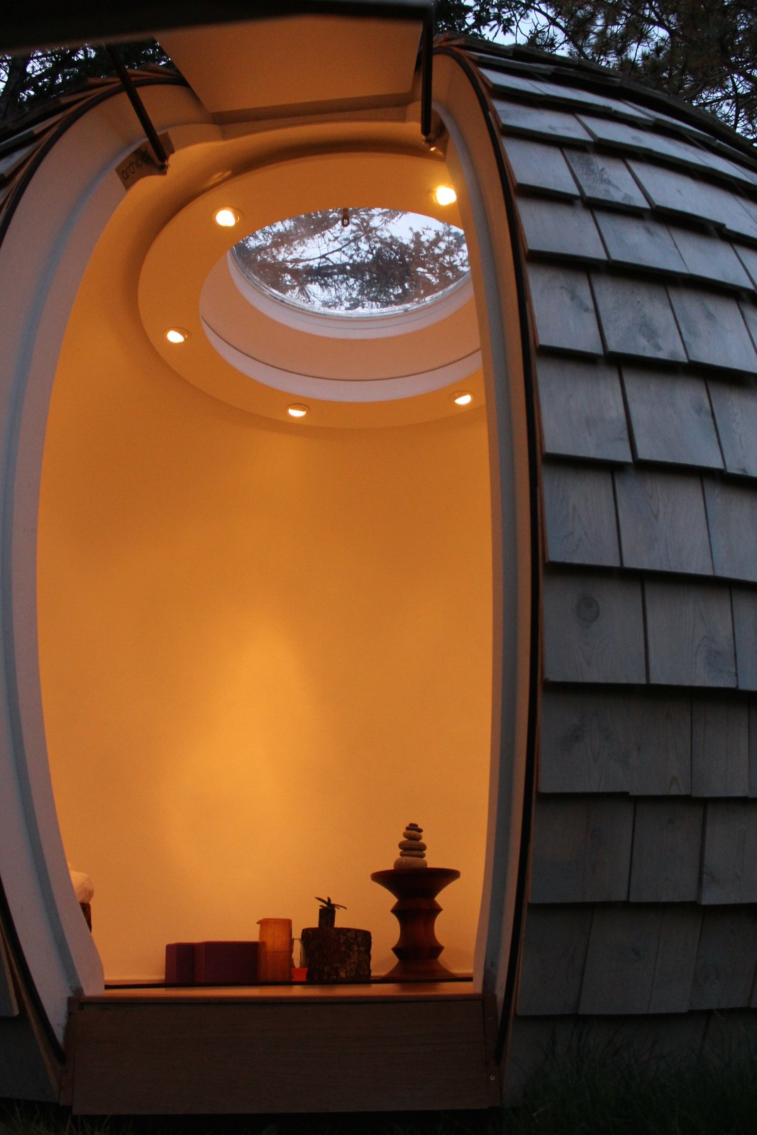 Inside the pod. Makes a perfect meditation/yoga retreat!  Reckless Disregard For Right Angles by Judith Bernier